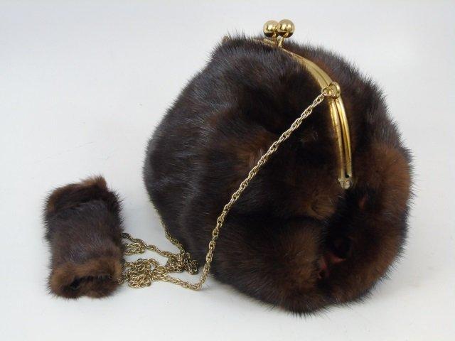 Vintage Mink Fur Purse / Hand Bag on Long Chain