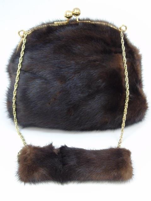 Vintage Mink Fur Purse / Hand Bag on Long Chain - 3
