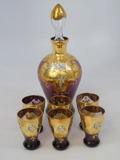 Venetian Style Gold Enamel Glass Set