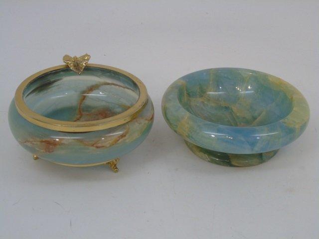 Italian Carved Onyx Bowl & Ashtray Ormolu
