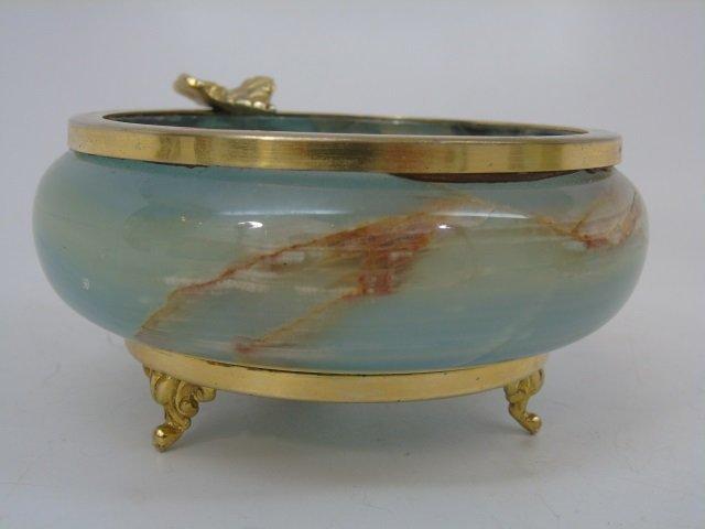 Italian Carved Onyx Bowl & Ashtray Ormolu - 4