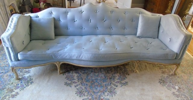 Mid Century Custom Made Arched Back Tufted Sofa