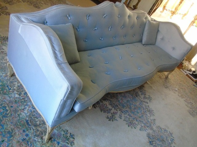 Mid Century Custom Made Arched Back Tufted Sofa - 2
