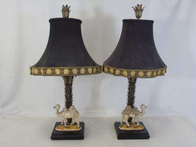 Pair Gilt Metal Table Lamps w/ Camel Statues