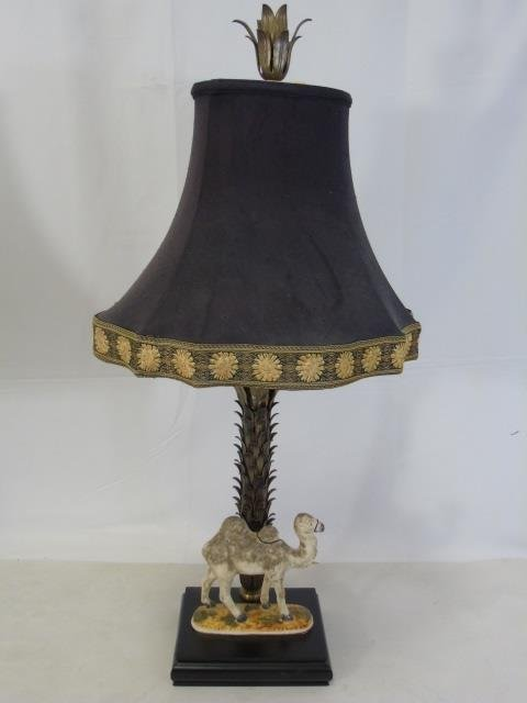 Pair Gilt Metal Table Lamps w/ Camel Statues - 3