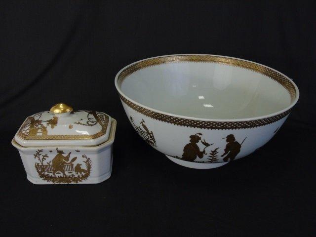 Chinese White & Gold Porcelain Large Bowl & Box