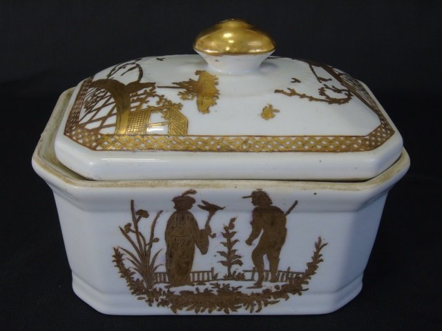 Chinese White & Gold Porcelain Large Bowl & Box - 2