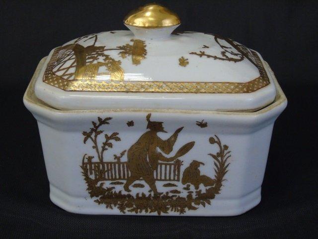 Chinese White & Gold Porcelain Large Bowl & Box - 4