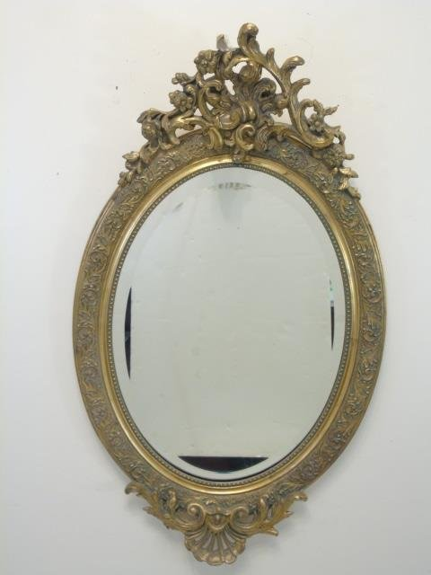 French Rococo Style Gold Tone Scrollwork Mirror