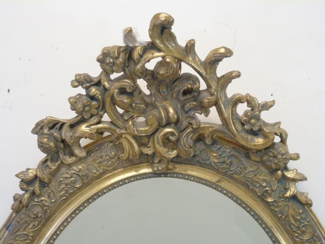 French Rococo Style Gold Tone Scrollwork Mirror - 3