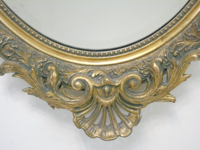 French Rococo Style Gold Tone Scrollwork Mirror - 4