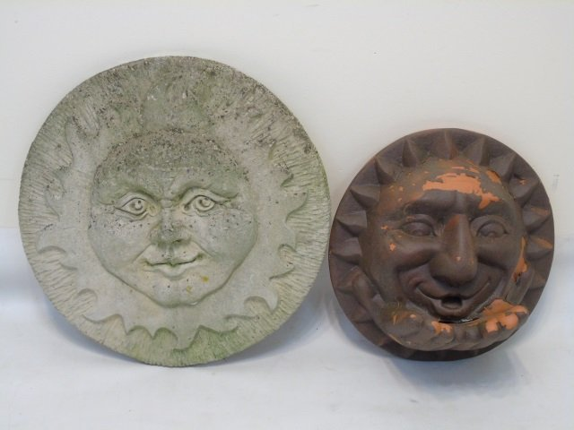 Stone & Terracotta Garden Plaque Statues of Suns