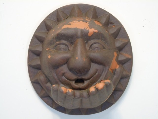 Stone & Terracotta Garden Plaque Statues of Suns - 2