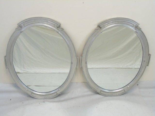 Pair Custom Made Silver Leaf Art Deco Style Mirror