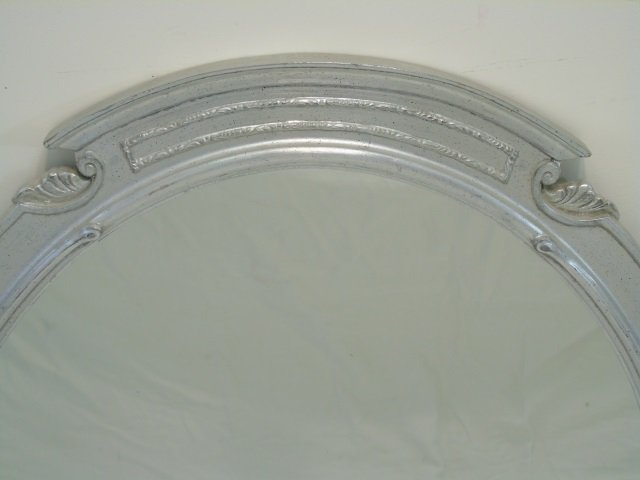 Pair Custom Made Silver Leaf Art Deco Style Mirror - 2