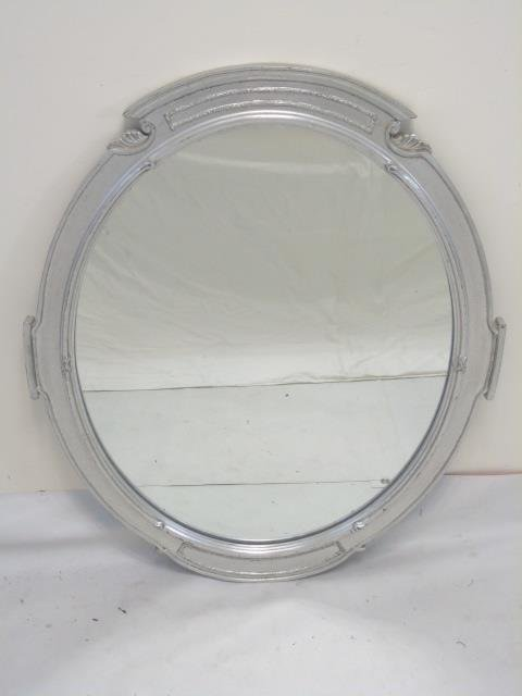 Pair Custom Made Silver Leaf Art Deco Style Mirror - 4