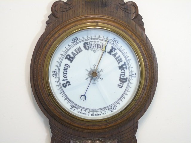 Antique Banjo Style Barometer with Thermometer - 2