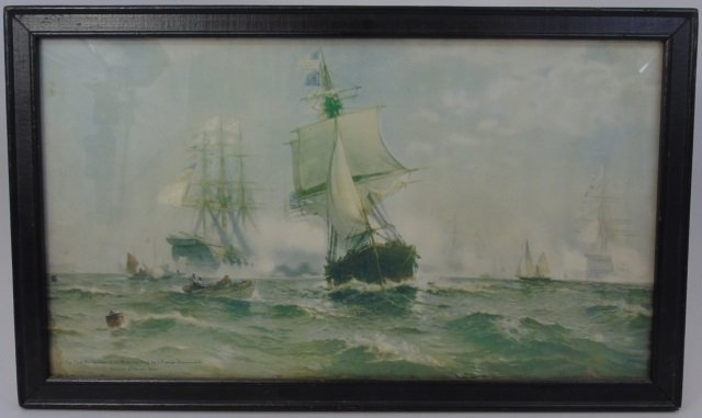 Vintage Print of Edward Moran Nautical Painting