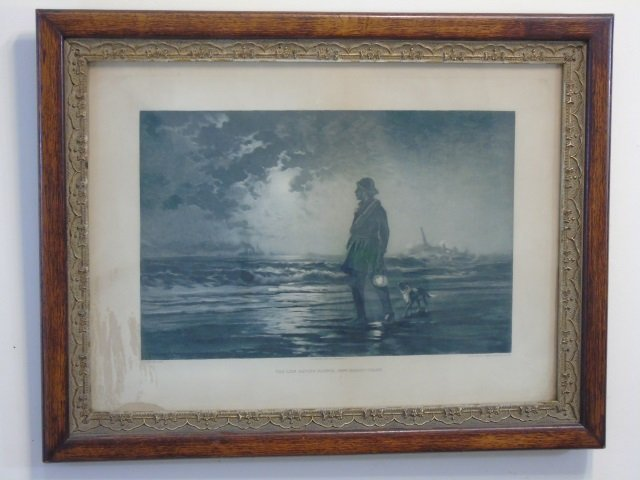 Antique Framed Edward Moran Seascape Print