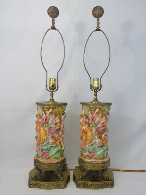 Pair Vintage Italian Capodimonte Table Lamps
