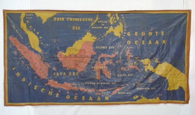 Large Vintage Fabric Printed Map of Indonesia