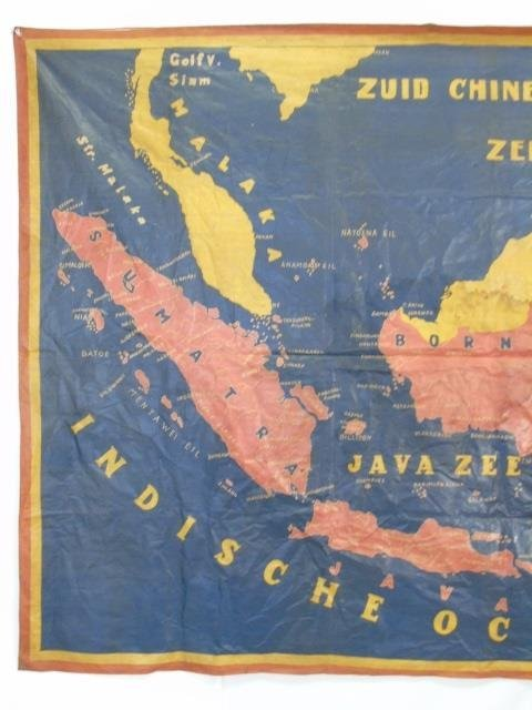 Large Vintage Fabric Printed Map of Indonesia - 3