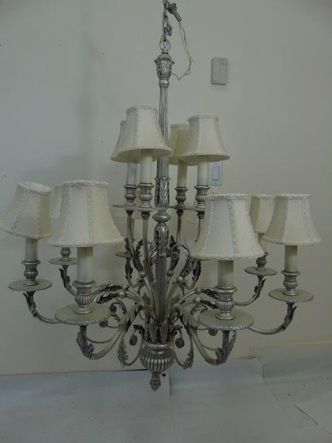 Contemporary Silver 12 Arm Chandelier w Shades