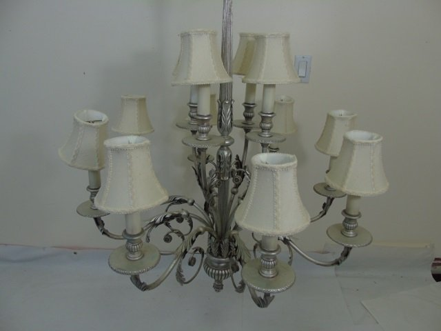 Contemporary Silver 12 Arm Chandelier w Shades - 3