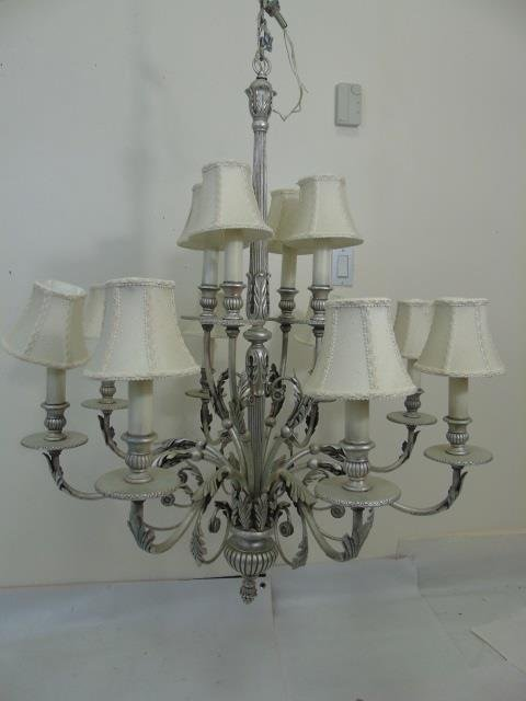 Contemporary Silver 12 Arm Chandelier w Shades - 4
