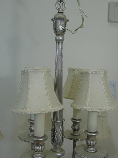 Contemporary Silver 12 Arm Chandelier w Shades - 5