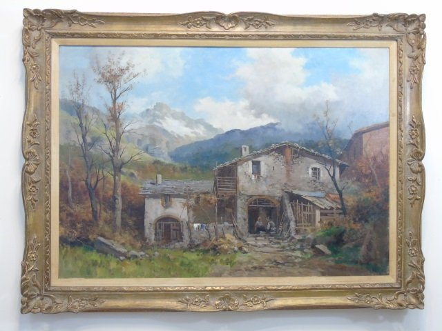 Large Signed Rustic Mountain Scene Oil on Canvas