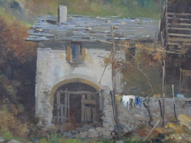 Large Signed Rustic Mountain Scene Oil on Canvas - 4