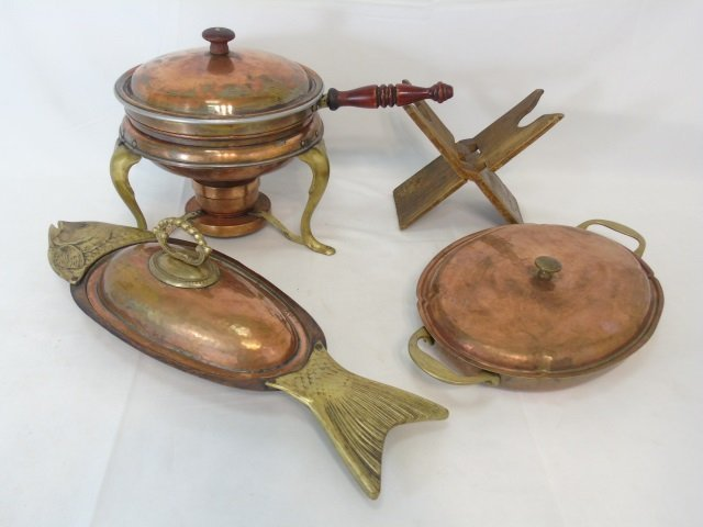Group of Copper & Brass Serving Dining Items
