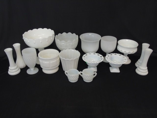 Large Group Milk Glass, Serving & Table Items