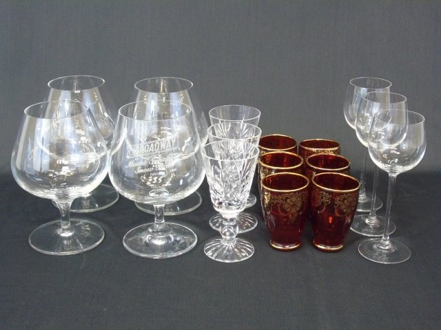 Group of 16 Liqueur Crystal Glasses & Snifters