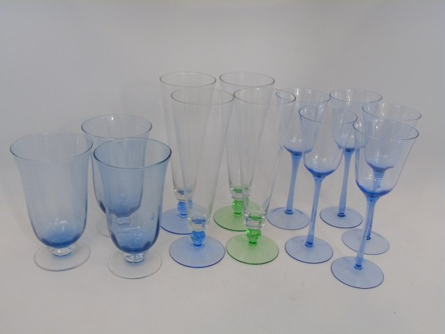 Group of Green & Blue Glass Goblets & Pilsners