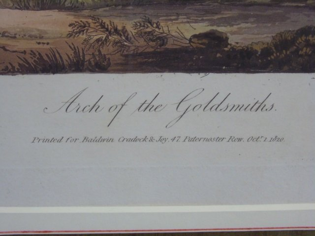 Antique Arch of the Goldsmiths Engraving c 1820 - 2