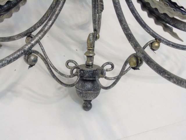 Contemporary Silver Tone Wrought Iron Chandelier - 2