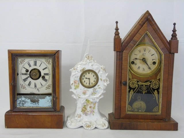 Three Antique Clocks Steeple, Porcelain & Congress