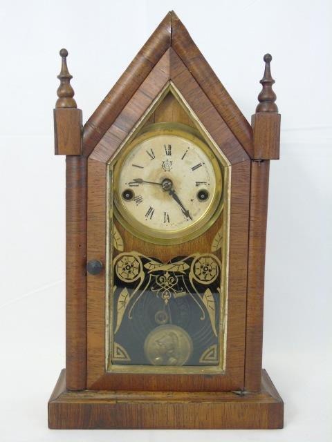 Three Antique Clocks Steeple, Porcelain & Congress - 6
