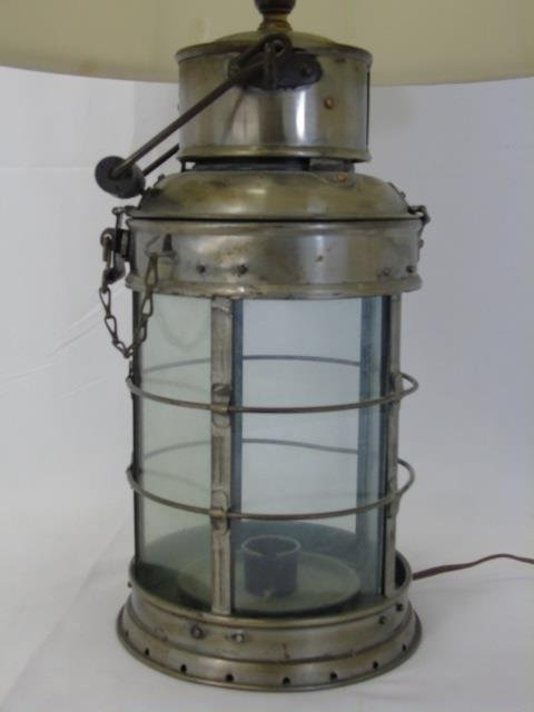 Vintage Iron and Glass Cage Nautical Lantern Lamp