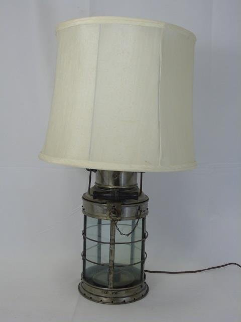 Vintage Iron and Glass Cage Nautical Lantern Lamp - 2