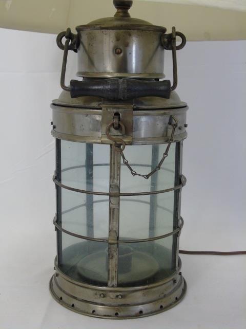 Vintage Iron and Glass Cage Nautical Lantern Lamp - 4