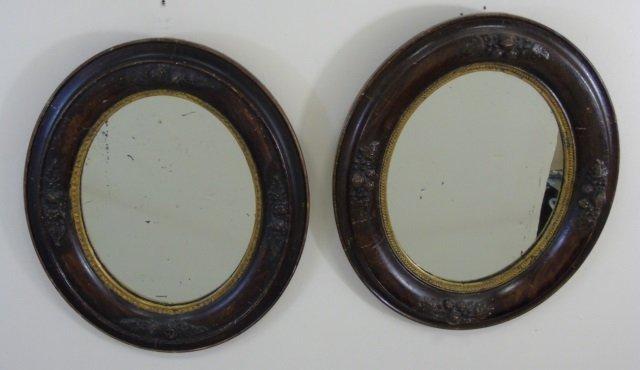Antique Pair Victorian Wooden Oval Mirror Frames