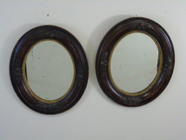 Antique Pair Victorian Wooden Oval Mirror Frames - 3