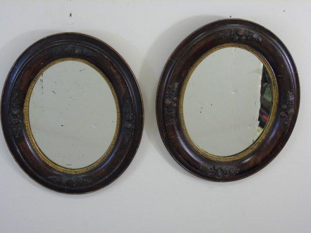 Antique Pair Victorian Wooden Oval Mirror Frames - 4