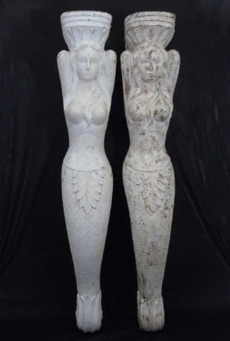 Two Large Hand Carved Mermaid Corbel Brackets