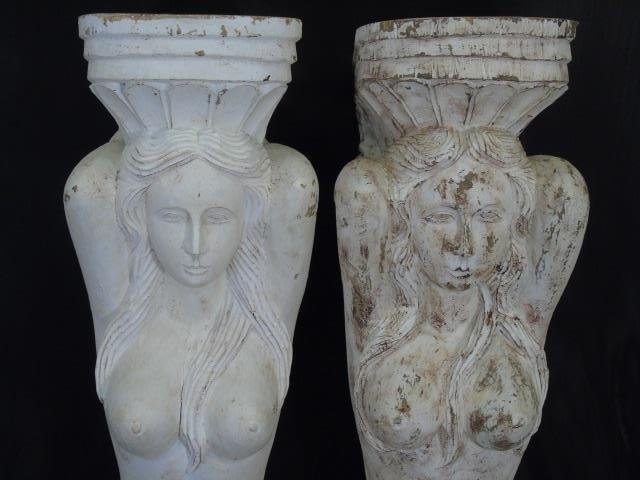 Two Large Hand Carved Mermaid Corbel Brackets - 2