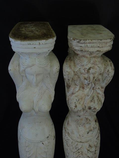Two Large Hand Carved Mermaid Corbel Brackets - 6