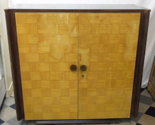 Antique Art Deco Two Tone Wood Armoire Cabinet